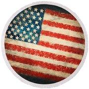 America Flag Round Beach Towel by Setsiri Silapasuwanchai