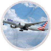 American Airlines Boeing 777 Round Beach Towel
