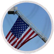 American Firefighter Round Beach Towel