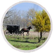 Amish Buggy Late Fall Round Beach Towel
