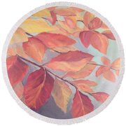 Among The Leaves Round Beach Towel