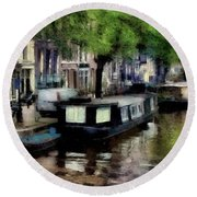 Amsterdam Canals Round Beach Towel