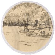 Amsterdam From The Tolhuis Round Beach Towel