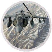 An Av-8b Harrier Receives Fuel Round Beach Towel