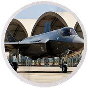 An F-35 Lightning II Taxiing At Eglin Round Beach Towel