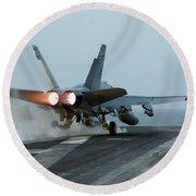 An Fa-18 Hornet Launches Round Beach Towel