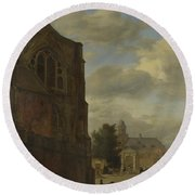 An Imaginary View Of Nijenrode Castle Round Beach Towel
