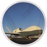 An Rq-4 Global Hawk Unmanned Aerial Round Beach Towel