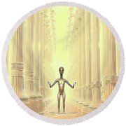 Ancient Alien Angel Round Beach Towel