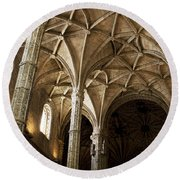 Lisbon Cathedral's Ancient Arches  Round Beach Towel