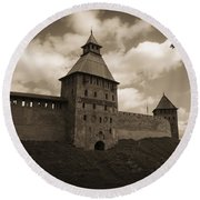 Ancient Walls. Sepia Round Beach Towel