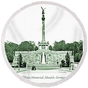 Angel Of Peace Memorial, Munich, Germany, 1903 Round Beach Towel