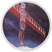 Angel Of The North Christmas Round Beach Towel