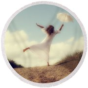 Angel With Parasol Round Beach Towel