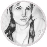 Angelina Jolie Portrait Round Beach Towel