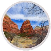 Angels Landing Round Beach Towel by Chad Dutson