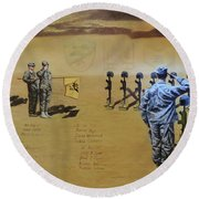 Angels Of The Sand Round Beach Towel