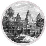 Angkor Wat, Cambodia, 1868 Round Beach Towel