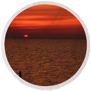 Angler In Summer Sunset Round Beach Towel