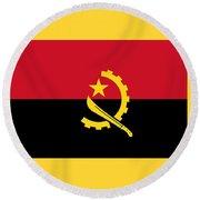 Angola Flag Round Beach Towel