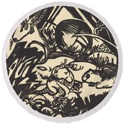Animal Legend (tierlegende) Round Beach Towel