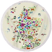 Animal Map Of Scotland For Children And Kids Round Beach Towel