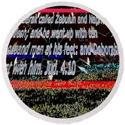 Animals As Art With Text Round Beach Towel