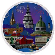 Annapolis Holiday Round Beach Towel