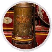 Antique Fire Extinguisher Round Beach Towel