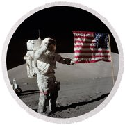Apollo 17 Astronaut Salutes The United Round Beach Towel
