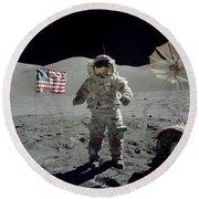 Apollo 17 Astronaut Stands Round Beach Towel
