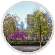 April In Rittenhouse Square Round Beach Towel