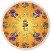 Aquarium Glow Oranges Round Beach Towel