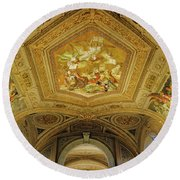 Architectural Artistry Within The Vatican Museum In The Vatican City Round Beach Towel