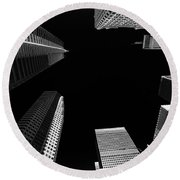 Architecture Black White  Round Beach Towel