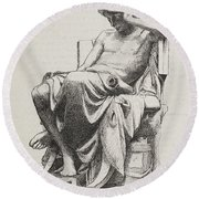 Aristotle, Ancient Greek Philosopher Round Beach Towel by Science Source