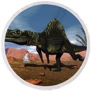 Arizonasaurus Dinosaur - 3d Render Round Beach Towel