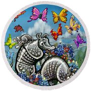 Armadillos Bluebonnets And Butterflies Round Beach Towel