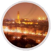 Arno River Florence Italy Round Beach Towel