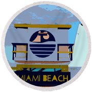 Art Deco Lifeguard Stand Round Beach Towel