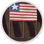 Art Homage Jasper Johns Flag Window Silver Dollar Bar Eloy Arizona 2004 Round Beach Towel