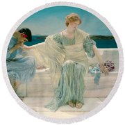 Ask Me No More Round Beach Towel by Sir Lawrence Alma-Tadema