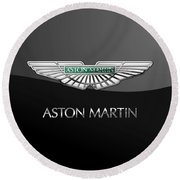 Aston Martin 3 D Badge On Black  Round Beach Towel