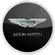 Aston Martin 3 D Badge On Black  Round Beach Towel