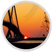 At The End Of The Bridge Round Beach Towel