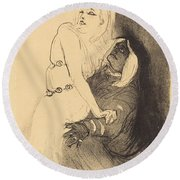 "At The Renaissance: Sarah Bernhardt In ""phedre"" (a La Renaissance: Sarah Bernhardt Dans ""ph?dre"") Round Beach Towel"
