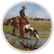 At The Watering Hole Round Beach Towel