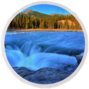 Athabasca Falls In Jasper National Park Round Beach Towel