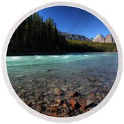 Athabasca River In Jasper National Park Round Beach Towel by Mark Duffy