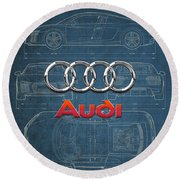 Audi 3 D Badge Over 2016 Audi R 8 Blueprint Round Beach Towel